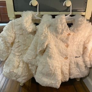 (2) CALVIN KLEIN Plush ivory swing coats